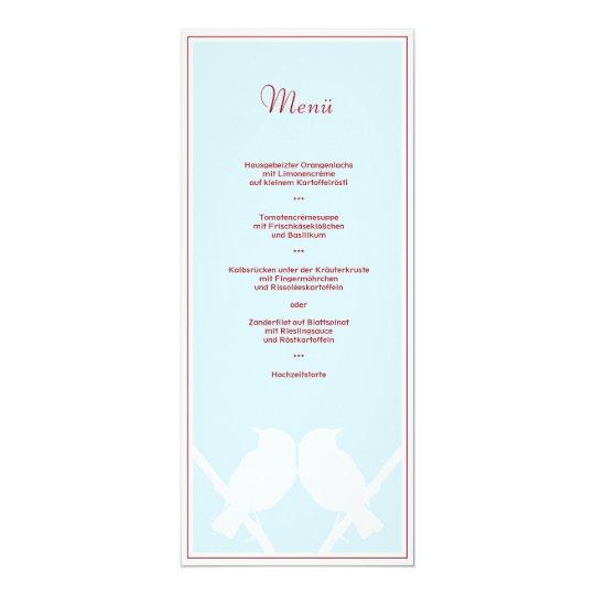 Menükarte für Ihr Hochzeitsmenü (türkis rot weiss) 10,2 X 23,5 Cm Einladungskarte