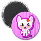 Meow cici auf Magneten Runder Magnet 5,1 Cm