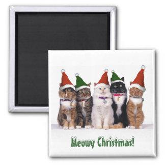 """""""Meowy Weihnachten!"""" Katzen in den Hüten Quadratischer Magnet"""