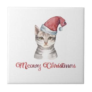 Meowy Weihnachtsentwurf für Katzen-Liebhaber Keramikfliese