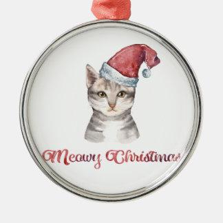 Meowy Weihnachtsentwurf für Katzen-Liebhaber Silbernes Ornament