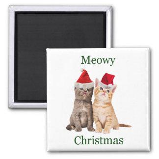 Meowy Weihnachtskätzchen-Magnet Quadratischer Magnet
