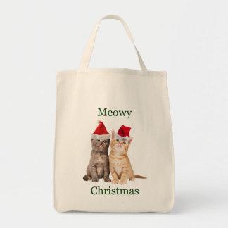 Meowy Weihnachtskätzchen-Taschen-Tasche Tragetasche