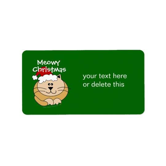 Meowy Weihnachtsniedliche Adressaufkleber