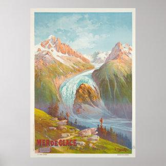 Mer de Glace, Vintage Reise des Montblancs, Savoie Poster
