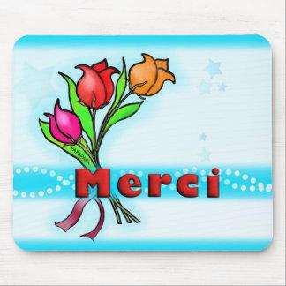 MERCI Franzosen danken Ihnen die Blumen, die Gruß Mousepad