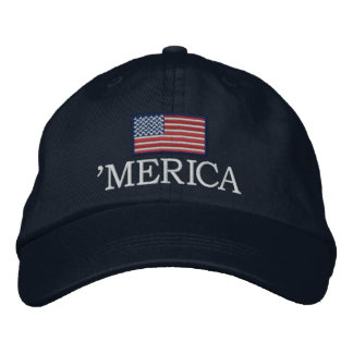 Merica - mit USA-Flagge Bestickte Baseballkappe