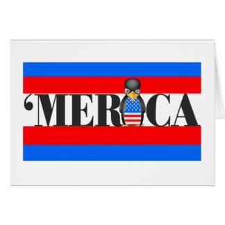 Merica u. ein umgekippter patriotischer Pinguin Karte