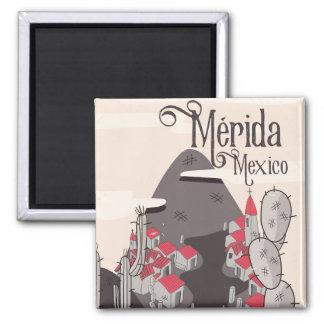 Mérida Mexiko Reiseplakat Quadratischer Magnet