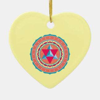 Merkaba auf Blume des Lebens Keramik Herz-Ornament