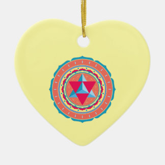 Merkaba auf Blume des Lebens Keramik Ornament