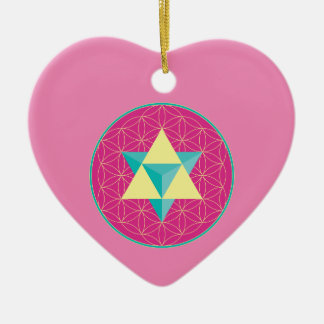 Merkaba mit Blume des Lebens Keramik Herz-Ornament
