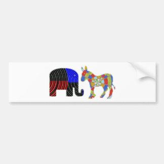 Merkwürdige Bett-Gefährten: Esel POLITIK Elefant-n Autoaufkleber