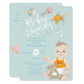 Mermaid Ocean Boy Invitation Blue Baby Shower Karte