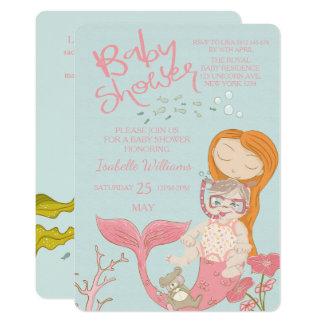 Mermaid Ocean Girl Pink Baby Shower Invitation Karte