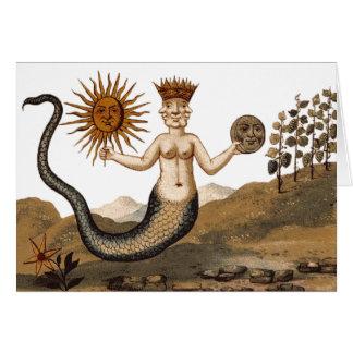 Merman mit Scheibe von Sun und von Mond Karte