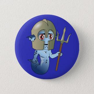 Merman-Neptun Krieger Runder Button 5,7 Cm