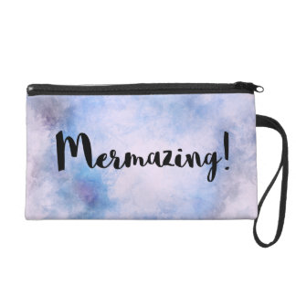 Mermazing Aufschrift-hellblaue Meerjungfrau Wristlet