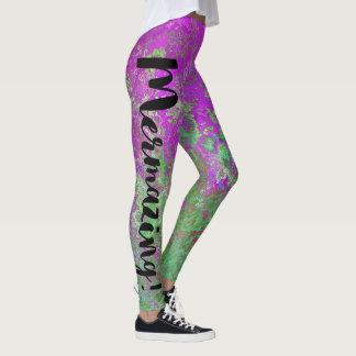 Mermazing Aufschrift-lila grüne Leggings