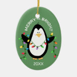 Merry and Bright Christmas Penguin in Green Christmas Ornament