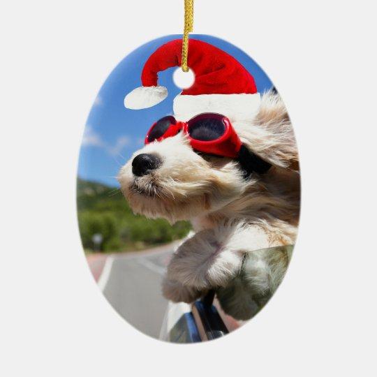 Merry Christmas dog Ovales Keramik Ornament