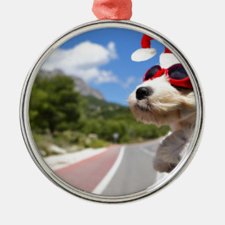 Merry Christmas dog Silbernes Ornament