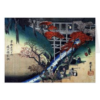 Merrymaking unter Ahornbäumen, Hiroshige Grußkarte