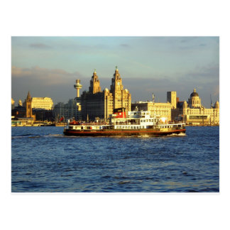 Mersey-Fähre u. Liverpool-Ufergegend Postkarte