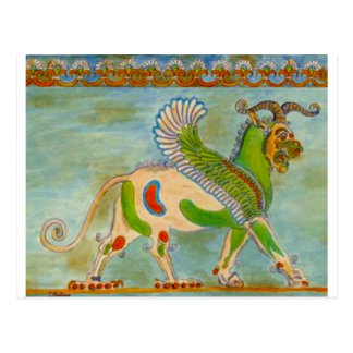 Mesopotamier Winged Löwe durch S Ambrose Postkarte
