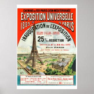 Messe-Eiffel-Turm Paris Welt mit 1889 Franzosen Poster