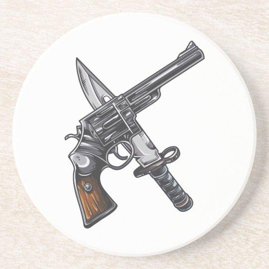Messer Pistole knife gun Getränkeuntersetzer