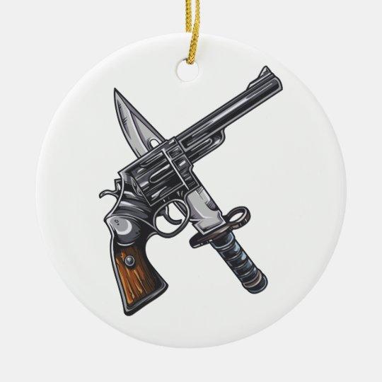 Messer Pistole knife gun Rundes Keramik Ornament