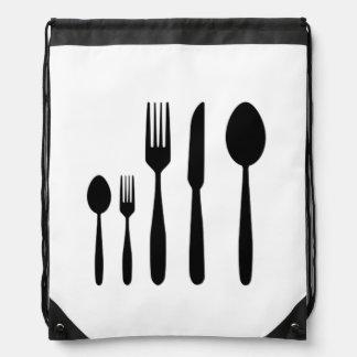 Messer-und Fork_Silverware Drawstring-Rucksack Turnbeutel