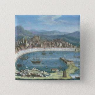 Messina - ein Panoramablick des Hafens Quadratischer Button 5,1 Cm