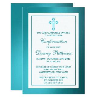 Metallische aquamarine quere heilige Kommunion Karte