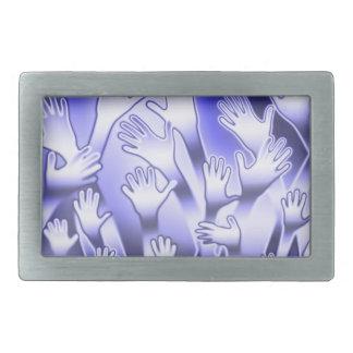 Metallische blaue helfende Hände Rechteckige Gürtelschnalle