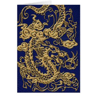 metallische Drachen 3D auf Königsblau Leder-Druck Karte