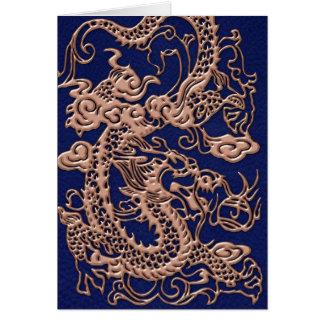 metallische Drachen 3D auf Königsblau-Leder-Druck Karte