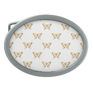 Metallische Goldfolien-Schmetterlinge auf Weiß Ovale Gürtelschnalle