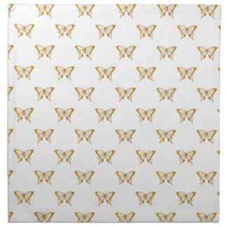 Metallische Goldfolien-Schmetterlinge auf Weiß Stoffserviette