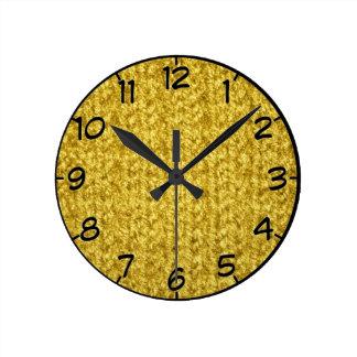 Metallische GoldStrick-Beschaffenheits-Wand-Uhr Runde Wanduhr