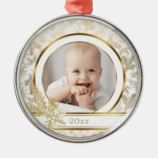 Metallische Goldweihnachtsstechpalme und Silbernes Ornament