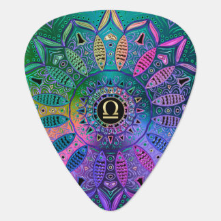Metallische Mandala Tierkreis-Zeichen-Waage-Lotuss Plektrum