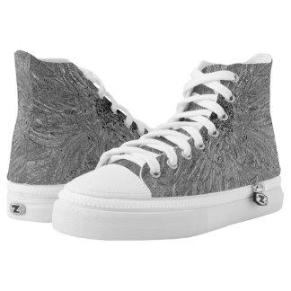Metallische Oberfläche Hoch-geschnittene Sneaker