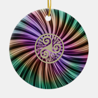Metallische RegenbogenCeltic Triskele Verzierung Keramik Ornament