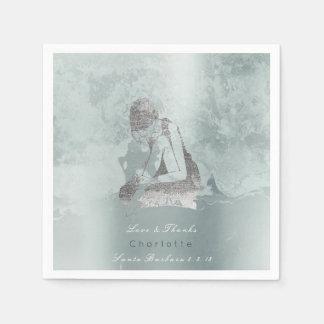 Metallische silberne Aqua-Ballerina-Grungy Servietten