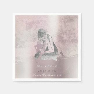 Metallische silberne rosa Ballerina-Grungy Papierserviette