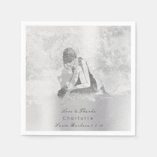 Metallische silbernes Grau-Ballerina-Grungy Servietten