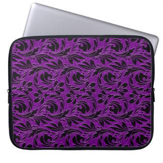 Metallische Wellen, Lila-Schwarz-Laptop Hülse 15in Laptopschutzhülle