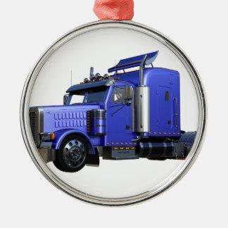 Metallischer Blau-halb Sattelzug-LKW Silbernes Ornament